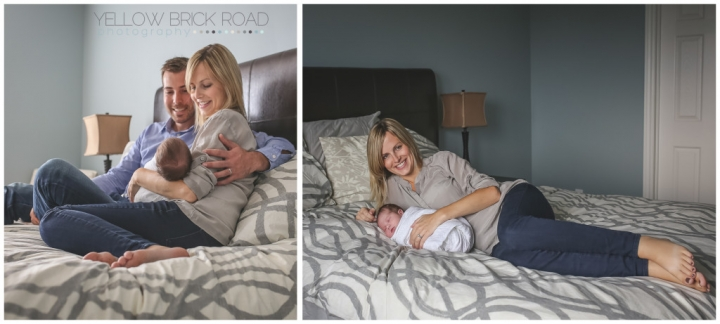 New Guelph Parents posing with their newborn daughter
