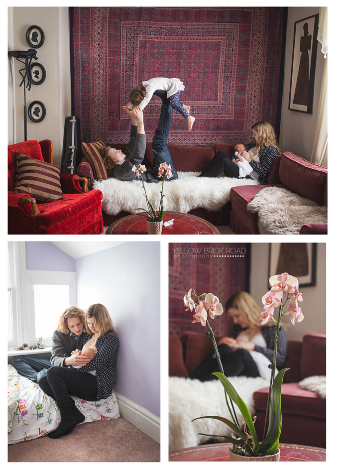 Collage images of Lifestyle In home newborn session in Guelph