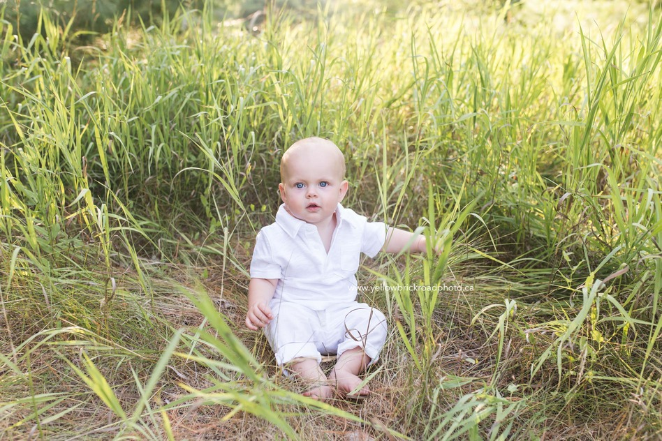 Guelph Family Photographer baby boy in white outfit