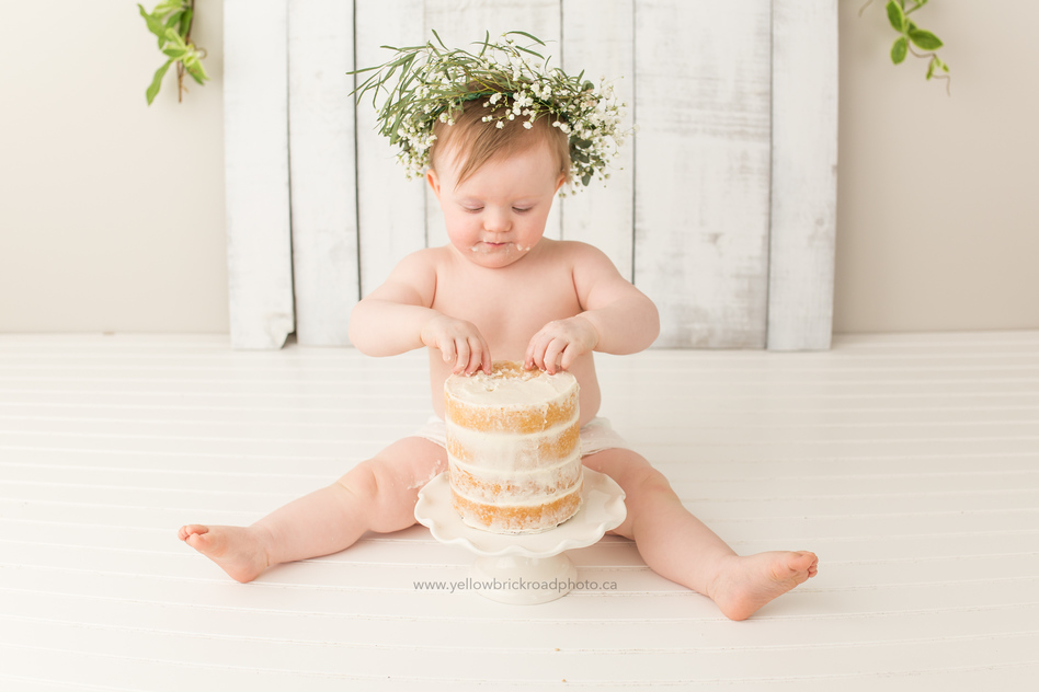 white cake smash baby photo session www.yellowbrickroadphoto.ca