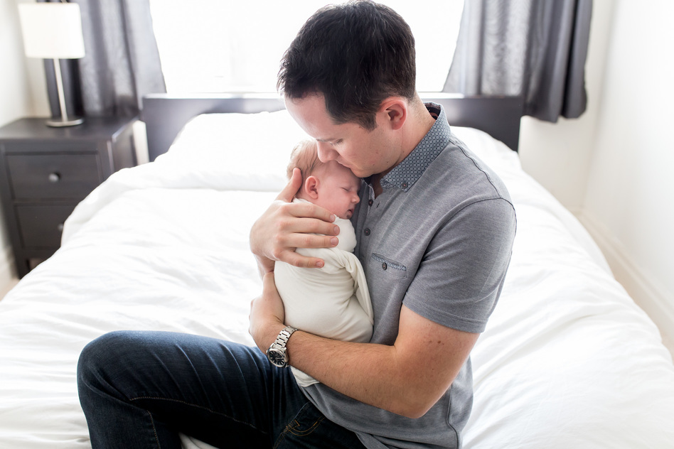 Guelph Home Newborn Photography Dad holding daughter